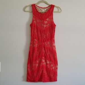 Arden B Red Lace Sleeveless Dress